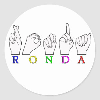 RONDA ASL FINGERSPELLED NAME SIGN CLASSIC ROUND STICKER