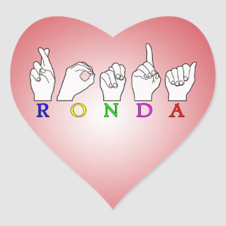 RONDA ASL FINGERSPELLED NAME SIGN HEART STICKER