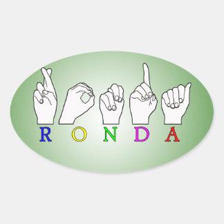RONDA ASL FINGERSPELLED NAME SIGN OVAL STICKER