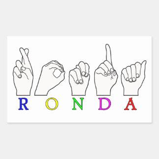 RONDA ASL FINGERSPELLED NAME SIGN RECTANGULAR STICKER