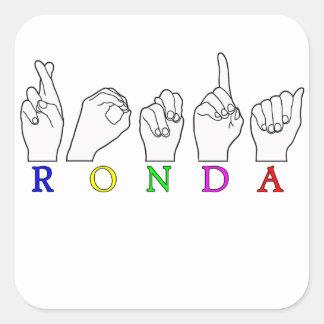 RONDA ASL FINGERSPELLED NAME SIGN SQUARE STICKER