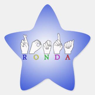 RONDA ASL FINGERSPELLED NAME SIGN STAR STICKER
