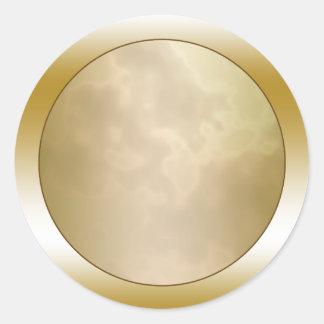 Ronda de mármol subió oro pegatina redonda