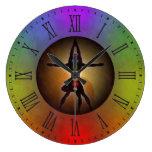 Ronda grande de la yoga del Grunge colorido de Reloj Redondo Grande