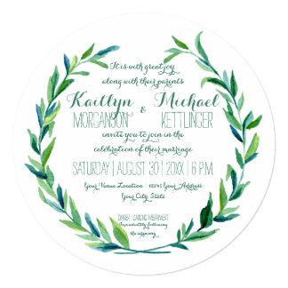 """Ronda moderna de la rama verde oliva de la hoja de invitación 5.25"""" x 5.25"""""""