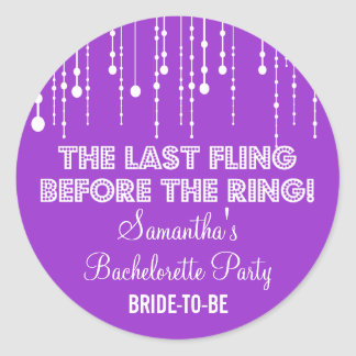Ronda púrpura colgante del fiesta de Bachelorette Etiqueta Redonda