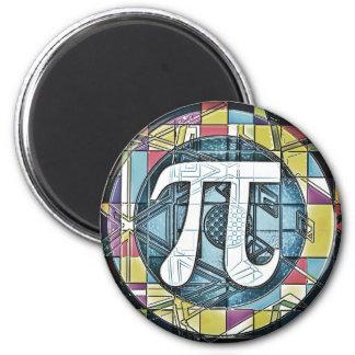 Rondas del símbolo del día del pi imán redondo 5 cm