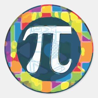Rondas del símbolo del día del pi etiquetas redondas