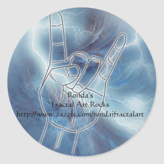 Ronda's Fractal Art Rocks Round Sticker