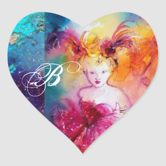 RONDO IN LAGOON /Monogram Venetian Masquerade Ball Heart Sticker