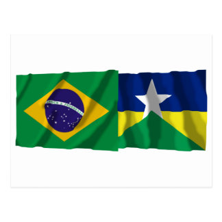 Rondônia & Brazil Waving Flags Post Card
