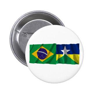 Rondônia y banderas que agitan del Brasil Pin