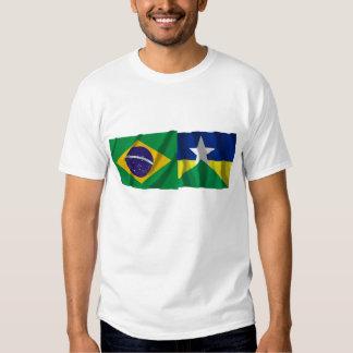 Rondônia y banderas que agitan del Brasil Playera