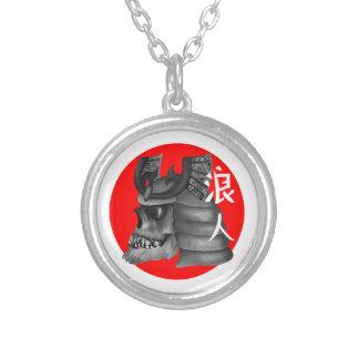 Ronin Samurai Japan Flag Silver Plated Necklace