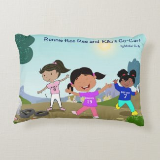 Ronnie Ree Ree and Kiki's Go Cart Cotton Pillow