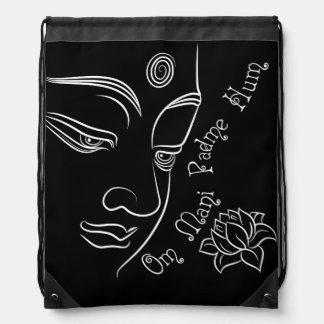 Ronquido de Buda Lotus OM Mani Padme en negro Mochilas