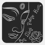 Ronquido de Buda Lotus OM Mani Padme Pegatina Cuadrada
