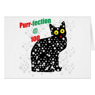 Ronroneo-fection del gato de la nieve 100 tarjeta de felicitación