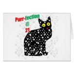 Ronroneo-fection del gato de la nieve 21 tarjeta de felicitación