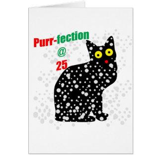 Ronroneo-fection del gato de la nieve 25 tarjeta de felicitación