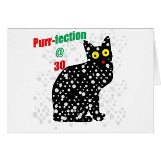 Ronroneo-fection del gato de la nieve 30 tarjeta de felicitación