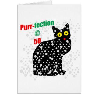 Ronroneo-fection del gato de la nieve 50 tarjeta de felicitación