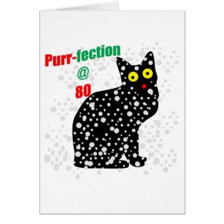 Ronroneo-fection del gato de la nieve 80 tarjeta de felicitación