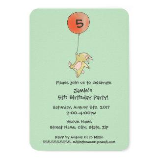 Roo Bunny - Red Big Balloon Party Invitation