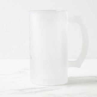 Roo Sitting (BLUE & WHITE) Frosted Glass Beer Mug