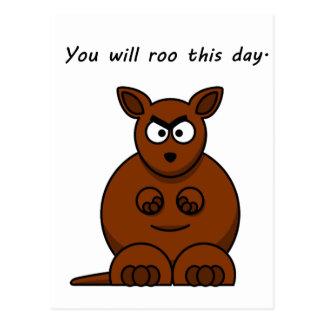 Roo this Day Angry Kangaroo Cartoon Postcard
