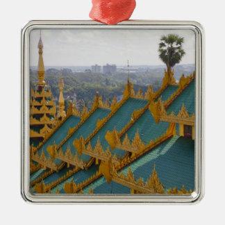 Roof tops of Shwedagon Pagoda, Yangon, Myanmar Square Metal Christmas Ornament