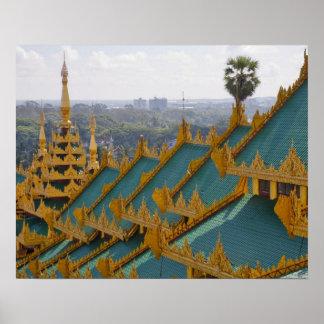 Roof tops of Shwedagon Pagoda, Yangon, Myanmar Poster