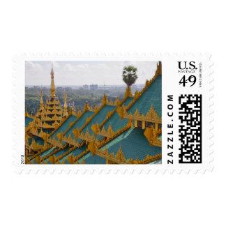 Roof tops of Shwedagon Pagoda, Yangon, Myanmar Stamp