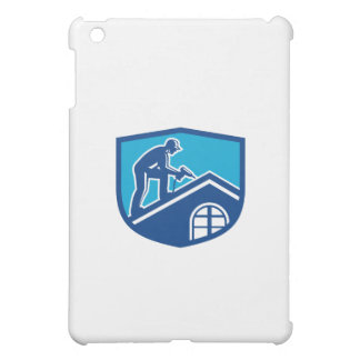 Roofer Construction Worker Working Shield Retro iPad Mini Cases