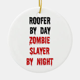 Roofer Zombie Slayer Double-Sided Ceramic Round Christmas Ornament