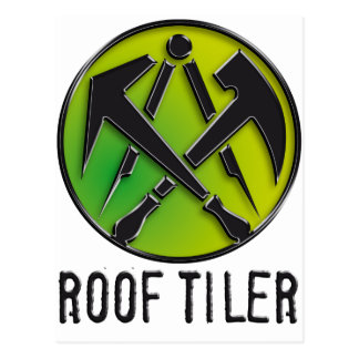 Roofers craftsmen symbol roof more tiler postcard