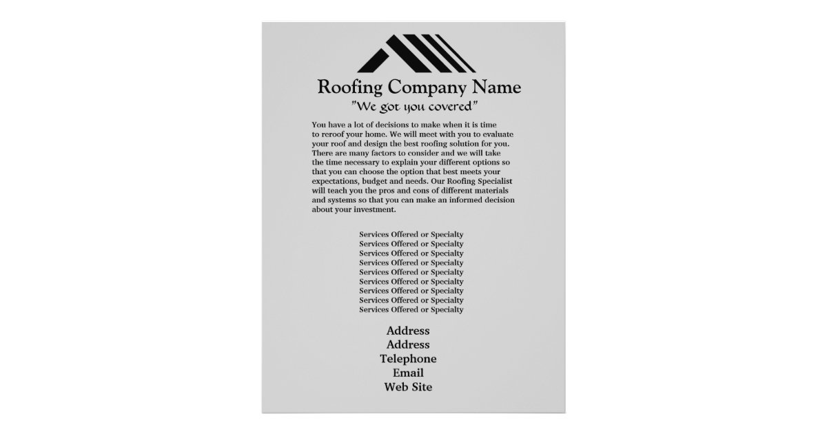 Roofing Company Business Flyer Zazzle