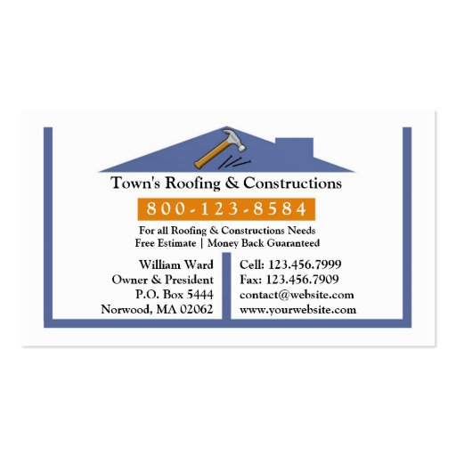 Roofing construction business card zazzle for Business cards roofing design