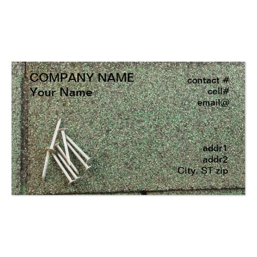 roofing nails on shingle business card