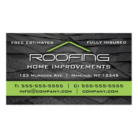 Lime Green and Charcoal Black Roofing Tiles Construction Business Cards
