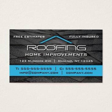 Professional Business Roofing Professional Business Card Blue