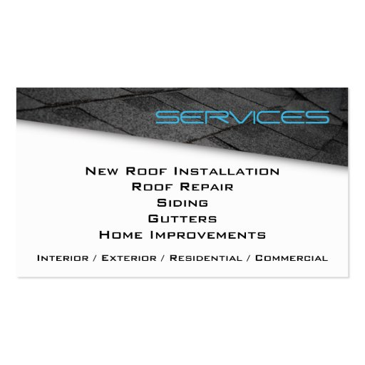 Roofing Professional Business Card Blue (back side)