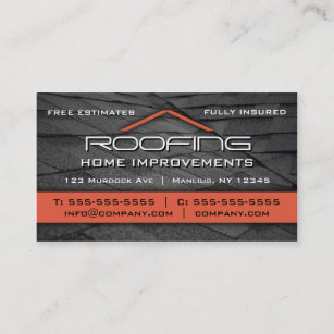Roofing business cards templates zazzle roofing professional business card orange reheart Gallery