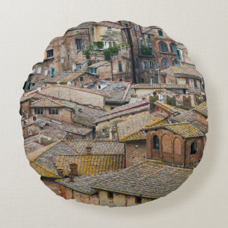 Roofs in Siena round throw pillow
