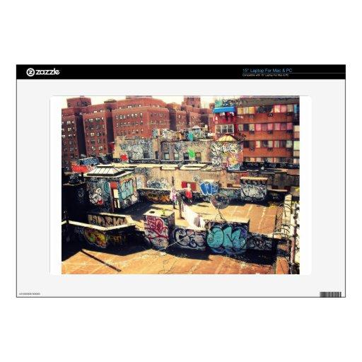 "Rooftop Graffiti in Chinatown 15"" Laptop Skin"