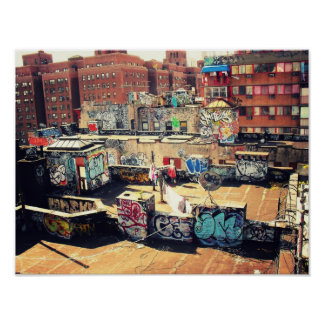 Rooftop Graffiti in Chinatown Poster