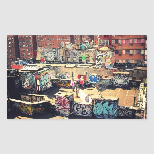 Rooftop Graffiti in Chinatown Rectangular Sticker