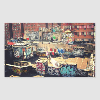 Rooftop Graffiti in Chinatown Rectangular Stickers