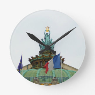 Rooftop of the Opera Garnier in Paris, France Round Clock