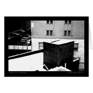 Rooftop Parking Urban Winter Landscape Greeting Card